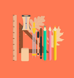 flat icon on stylish background pencils pens ruler vector image