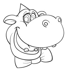 funny sketch a hippo head in a festive cap and vector image