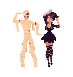 girl dressed as witch magician man in mummy vector image
