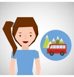 Girl van mountain tourist traveler vector