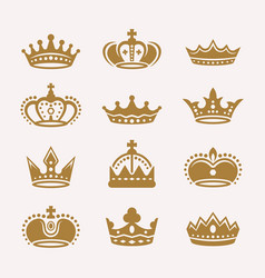 Gold crowns isolated icons signs symbols vector