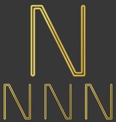 Golden line n logo design set vector