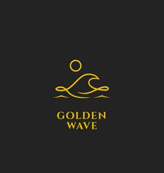 golden ocean wave logo with midnight moon icon vector image