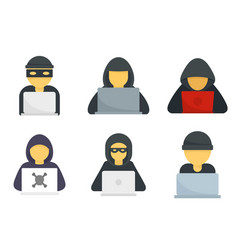 Hacker icons set flat isolated vector