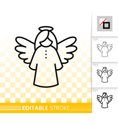 hanging angel simple black line icon vector image