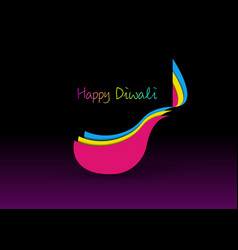Happy diwali celebration in paper cut design vector