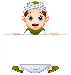 happy muslim kid holding blank sign vector image