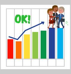 Happy teamwork with good bar chart vector