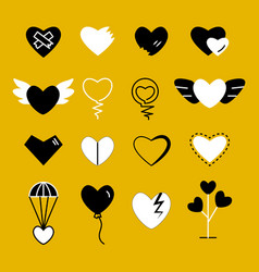 Heart flat white and black modern icon vector