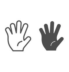 Hi five line and glyph icon five fingers gesture vector