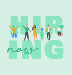 Hiring banner recruitment concept with people vector