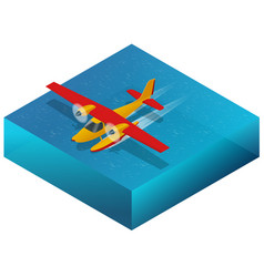 Hydroplane on the water flat 3d isometric vector