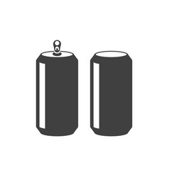 icon of an open and closed aluminum can on white vector image