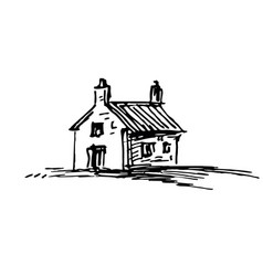 Ink sketch barn vector