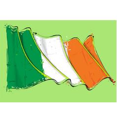 Irish artistic brush stroke waving flag vector