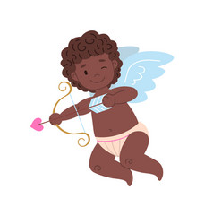Isolated african cupid with bow and arrow vector