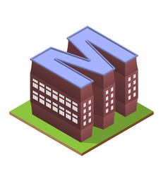 Isometric building letter m form vector