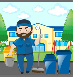 Janitor cleaning school campus vector