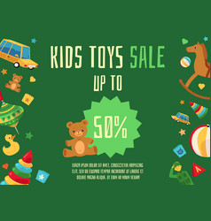 Kids toys sale flyer template with toys icons vector
