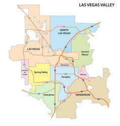 Las vegas valley road and administrative map vector
