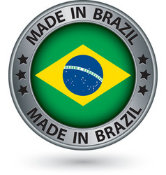 Made in Brazil silver label with flag vector image vector image