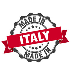 made in italy round seal vector image