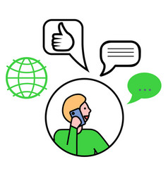 man with phone message and globe symbol vector image