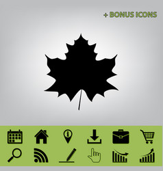 Maple leaf sign black icon at gray vector