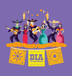 Mariachi and catrina skulls day of the dead party vector