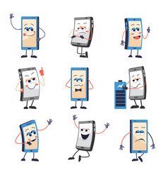 mobile phone or smartphone with face and emotions vector image