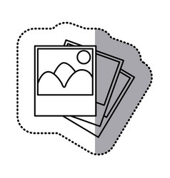 monochrome contour sticker with pictures vector image