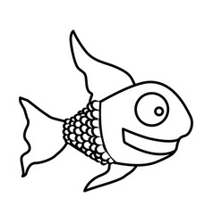 Monochrome silhouette of fish with long fins vector