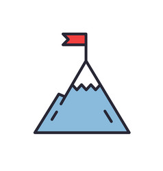 Mountain with flag on a peak leadership vector