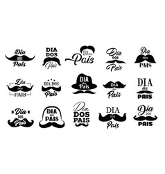 mustache and hat icons fathers day holiday vector image