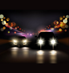 Night ride cars composition vector