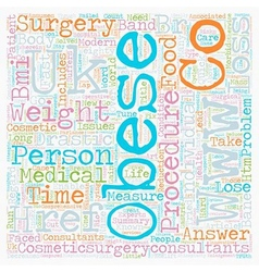 Obesity Surgery text background wordcloud concept vector image