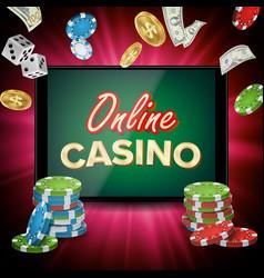 online casino banner realistic tablet vector image