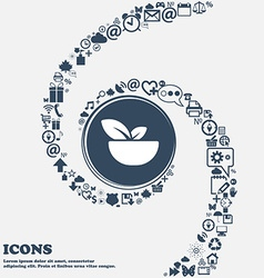 Organic food icon in the center Around the many vector image