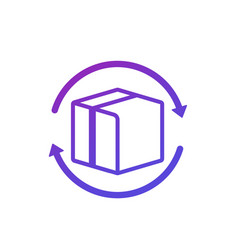 Parcel return icon with box on white vector