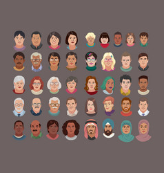 People head avatar set different smile characters vector