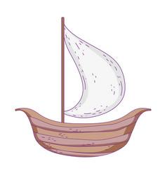 retro wooden sailboat icon vector image