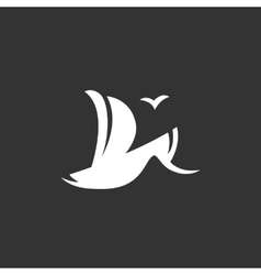 Sailboat logo on black background icon vector image
