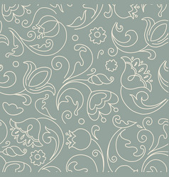 seamless pattern flowers in doodle style vector image