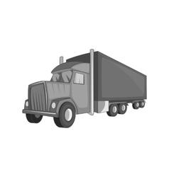 Semi trailer truck icon black monochrome style vector