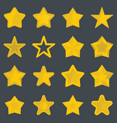 set flat cartoon star icons vector image