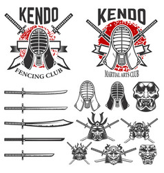 set of japanese fencing martial art emblems kendo vector image