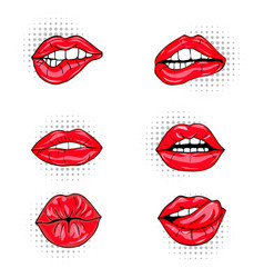set of sexy female lips in red glossy lipstick vector image