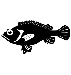 Silhouette of rockfish vector