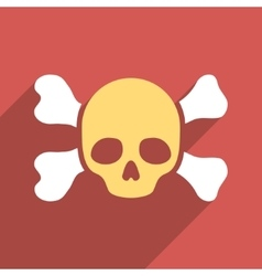 Skull And Bones Flat Longshadow Square Icon vector