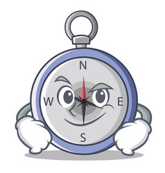 Smirking compass character cartoon style vector